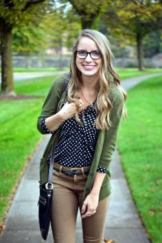 Love this look, with the cardigan and color matches