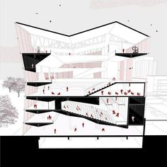 Drawing by marciaresia - Want to be featured archisource - Architecture Design Concept, Architecture Presentation Board, Architecture Collage, Architecture Graphics, Architecture Student, Architecture Drawings, Architecture Portfolio, Presentation Boards, Architecture Diagrams