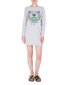 Embroidered+Logo+Crewneck+Sweat+Dress,+Light+Gray+by+Kenzo+at+Neiman+Marcus.