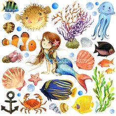 Peixes exóticos, recifes de corais, algas, fauna marinha incomum, conchas do mar, anêmonas e tema marinho de decoração. conjunto do mundo subaquático. aquarela ilustração para crianças — Imagem de Stock #76403069