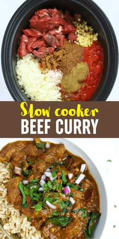 This Slow Cooker Beef Curry is a simple, prepare ahead midweek meal. A tasty 'fakeaway' curry, the slow cooked beef pieces are cooked in a tomato sauce. This crock pot beef stew style curry is also easily adaptable to the Slimming World or Weight Watchers plan as it's light, healthy and low fat. Slow Cooker Beef Curry, Slow Cooked Beef, Healthy Slow Cooker, Slow Cooker Recipes, Beef Recipes, Meat Dish, Beef Dishes, Food Dishes, Family Recipes