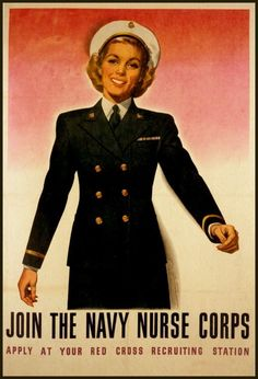 Print US Navy Nurse Corps Poster WW2 Women at War. by BloominLuvly