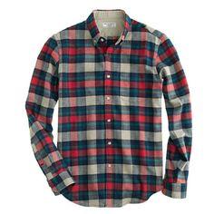 Wallace & Barnes woodshop flannel shirt in chili powder plaid | J. Crew