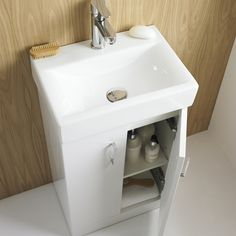 The 450 x High Gloss White Floor Standing Basin Unit. All white gloss vanity units feature a high qualityceramic basin. Bathroom Vanity Units Uk, White Vanity Unit, Basin Vanity Unit, Basin Unit, Vanity Sink, Bathroom Sinks, Bathroom Ideas, Small Vanity, Bathroom Cabinets