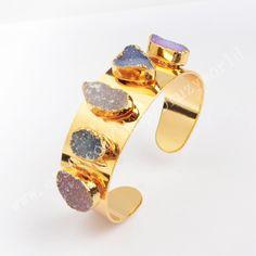 Gold Plated Freeform Natural Druzy Bangle Cuff Multi-Color Drusy Bracelet Handmade Electroformed Gemstone Bangle Agate…