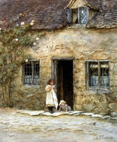 At The Cottage Door - Helen Allingham Prints - Easyart.com