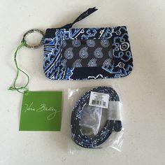 Vera Bradley Blue Bandana Zip ID Case and Lanyard SALE $17