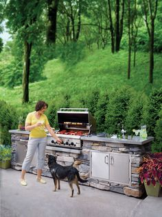 How to Build an Outdoor Kitchen If you've got some basic skills and a couple of handy friends, you can build a grill island like ours in a few weekends. Learn how to build your own outdoor kitchen at This Old House. Outdoor Kitchen Plans, Outdoor Kitchen Countertops, Backyard Kitchen, Outdoor Kitchen Design, Outdoor Cooking, Outdoor Kitchens, Outdoor Sinks, Outdoor Grill Island, Outdoor Bar Cart