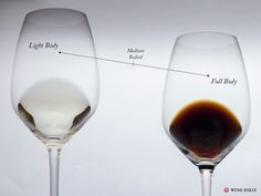 white wine and dark brown wine in a glass to show light and full bodied wines