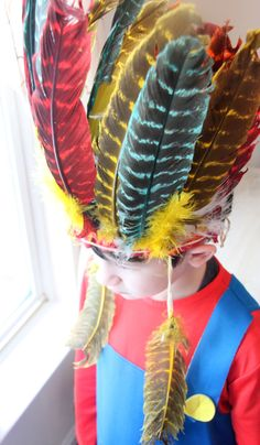 1950s Children's Play Indian Headdress $40.00 - Native American, Cowboys and Indians, Feathers, Boho Decor, Feather Headpiece, Boys Room (WTH-857) by WeeklyTreasureHunt on Etsy