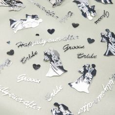 Happily Ever After Wedding Confetti, Silver Metallic, 4oz.