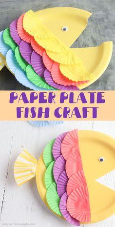 Paper Plate Art, Paper Plate Fish, Paper Plate Crafts For Kids, Easy Crafts For Kids, Summer Crafts, Toddler Crafts, Paper Plates, Fun Crafts, Crafts