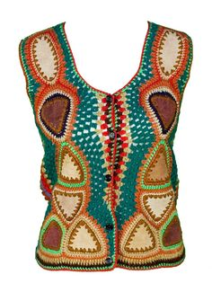 1960s Medium Crocheted Vest Psychedelic Leather by TopangaHiddenT