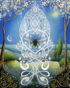 Sacred Bee Art print by Amanda Clark