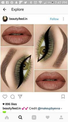 Love the multitone green eye makeup More from my site Festive Gold and Green Eye Makeup Look for Christmas This makeup Make up glam! natural glam eye shadow look Pink, gold and black eye shadow look Tips For eye makeup tips