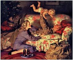 Daddy's home for Christmas! ~ WWII era Coca-Cola ad illustrated by Haddon Sundblom.