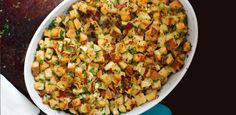 Bread Stuffing with Bacon, Leeks and Apples