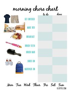 This free printable chore chart is perfect for mourning routines. Even kids who are not reading yet can use this chart.