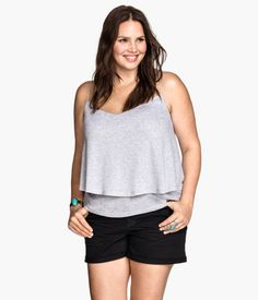 Camisole top in double-layer jersey with narrow, woven shoulder straps.