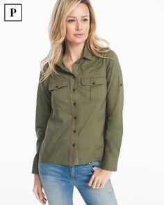 Petite Long-Sleeve Button-Up Cotton Shirt