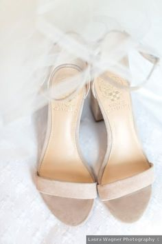 Nude wedding shoes - open toe, modern, neutral, tan, beige, Vince Camuto {Laura Wagner Photography}