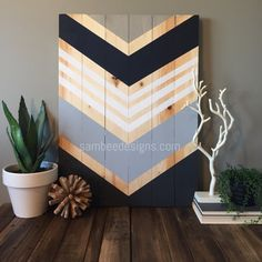 Modern rustic chevron wood wall art sign by SamBeeDesigns on Etsy