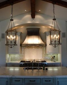 <3 the two lantern pendants over the kitchen island