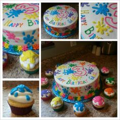 paint splatter cake and cupcakes