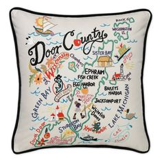 Door County Embroidered Pillow from southern|ELEVATION