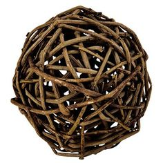 """Our eco-smart decorative Willow Sphere is a simple yet oh-so-stylish way to add a """"green"""" touch to your home. This natural willow ball is unvarnished and looks fabulous in groups. Arrange several in a contrasting basket or bowl, or use them to practice juggling. Preferably not both at the same time."""