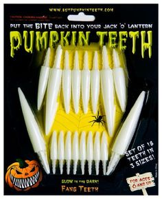 Halloween Pumpkin Kit  Pumpkin Teeth for your Jack O Lantern  Set of 18 Glow in the Dark Fang Teeth >>> You can get more details by clicking on the image.