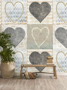Heart Wallpaper Set Of Three Rolls by The Orchard Furniture, the perfect gift for Explore more unique gifts in our curated marketplace. Heart Wallpaper, Cool Wallpaper, Pattern Wallpaper, Interior Walls, Decor Interior Design, Interior Decorating, Eco Friendly Paper, Designer Wallpaper, Wallpaper Designs