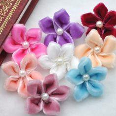 20/60pcs U pick Velet Ribbon Flower Bauhinia W/pearl Appliques Wedding B025 #UnbrandedGeneric