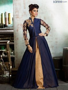 BLUE SILK SUIT WITH EMBROIDERY WORK