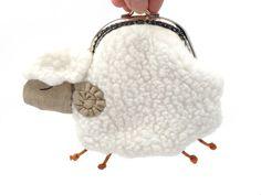 Little white sheep clutch purse