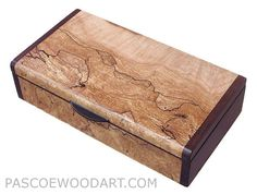 Handmade small wood box - Small wood  keepsake box made of spalted maple burl, bois de rose