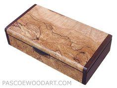 Handmade small wood box - Small wood  keepsake box made of spalted maple burl, bois de rose