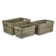 Rectangular Grey Rattan Storage Baskets | The Willow Basket Wooden Basket, Rattan Basket, Wicker, Plastic Baskets, Large Baskets, Rectangular Baskets, Wooden Organizer, Under Bed Storage