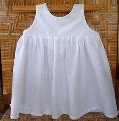 Items similar to Shirred girl dress in white plumetis cotton on Etsy 16820b69f045b