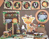 Safari Jungle Baby Shower Decorations Printable - Instant Download - Safari Baby Shower Decorations - Safari Baby Shower - Jungle Party