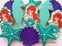 Mermaid Cookies~                       by SugaredHeartsBakery, teal starfish, purple clam, seahorse, chevron