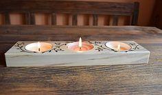 woodartAM / Svietnik z topoľového dreva s lístkami