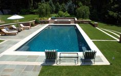 rectangular pool with grass and paver and concrete decking - Google Search