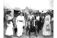 A group of women at Ascot wearing the latest fashions, 1914