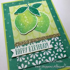 Yesterday I receive the Lemon Zest Bundle with my order and I couldnt wait to create a card with it. The was my first attempt at using these awesome stamps and matching punch. Birthday Cards, Happy Birthday, Food Stamps, Kids Cards, Scrapbook Pages, Stampin Up, Catalog, About Me Blog, Lemon