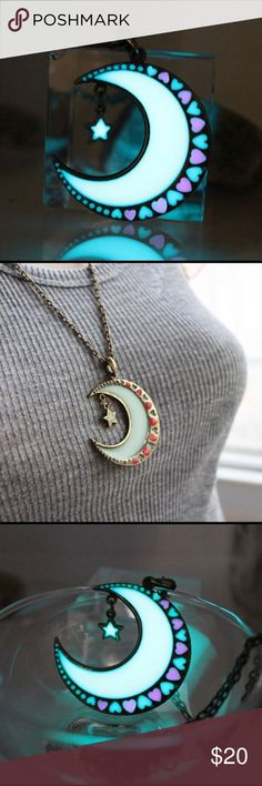 Crescent Moon w/ Hearts Glow in the Dark Necklace Glow in the dark moon and stars necklace with adjustable chain. It has a beautiful bright glow, perfect for either you or your moon and stars. Reasonable offers welcome. Total chain length 12 3/8 inches. Bundle and save! Jewelry Necklaces