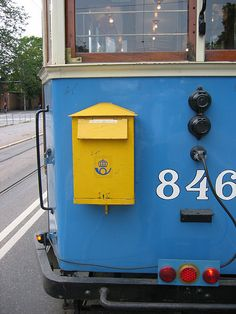 Mailbox on a tram at Djurgårdslinjen in Stockholm by Jonnie Nord.