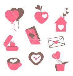 Valentines love icons vector on VectorStock®