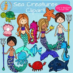 Sea Creatures Mermaids Mermen Clip Art Personal and Commercial Use by Smart as a Fox Designs ♥This collection contains 25 clipart pieces: 13 vividly colored images and 12 black and white (lineart) images. 300 ppi/dpi for clear printing, PNG files with transparent background clipart perfect for any personal or commercial underwater and sea creature project! #clipart #teacherspayteachers #smartasafoxdesigns #illustrator