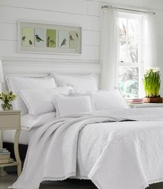 Laura Ashley Heirloom Crochet Cotton Reversible Quilt Set by Laura Ashley Home Size: King Quilt + 2 Shams, Color: Cream White King Quilt Sets, King Size Quilt, Queen Quilt, Ruffle Quilt, Crochet Quilt, Ashley White, Sweet Home, Laura Ashley Home, Grey Quilt